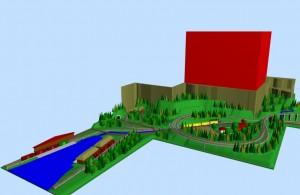 Sarge N-scale SCARM railway layout 3D scene 1