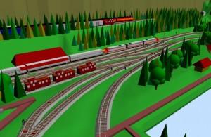 Sarge N-scale SCARM railway layout 3D scene 2