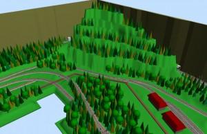 Sarge N-scale SCARM railway layout 3D scene 3