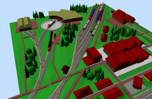 Sarge N-scale SCARM railway layout 3D scene 4
