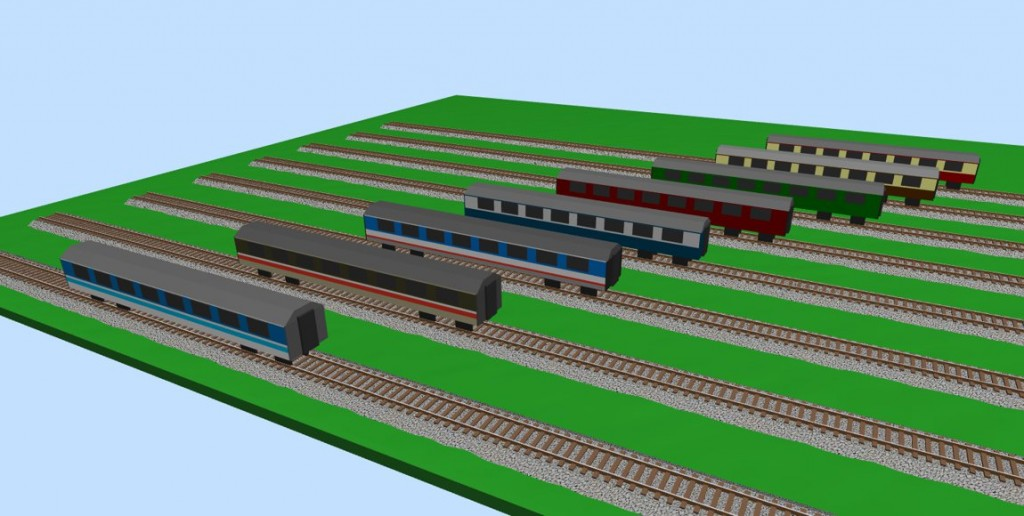 UK MK-1 passenger coaches (in 8 different colors) 3D view