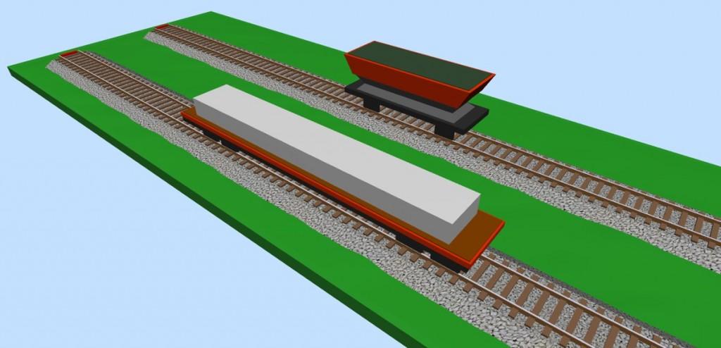 Hopper & bogie bolster wagons (loaded) 3D view