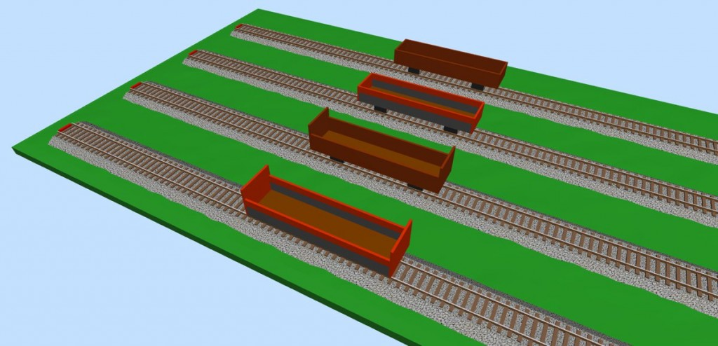 Open freight wagons (empty) 3D view