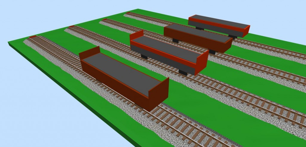 Open freight wagons (loaded) 3D view