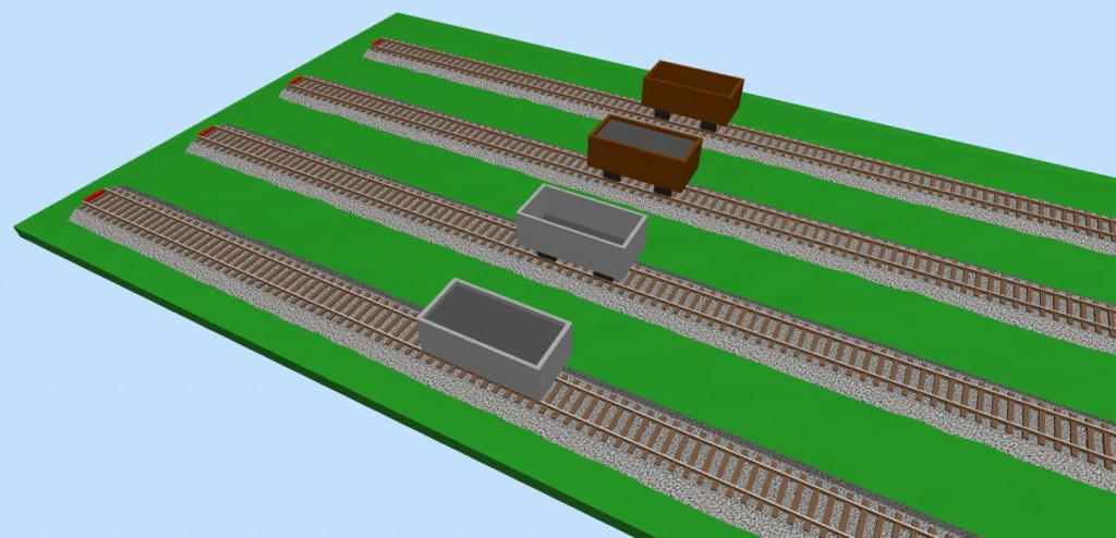 Truck wagons (empty & loaded) 3D view
