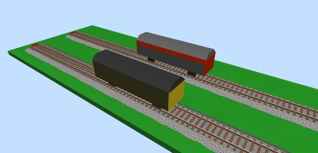 Van freight wagons 3D view