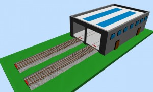 Modern double depot building 3D