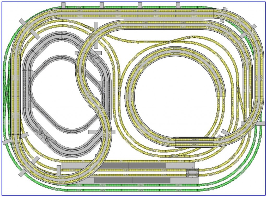 Kato N-scale 1720x1270cm Two Levels Track Plan