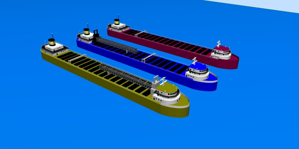 Different types of improvised lake freighters in 3D