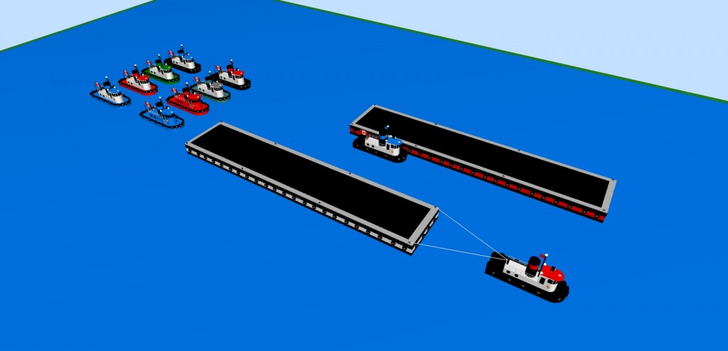 Several different colored  tug boats and barges in 3D