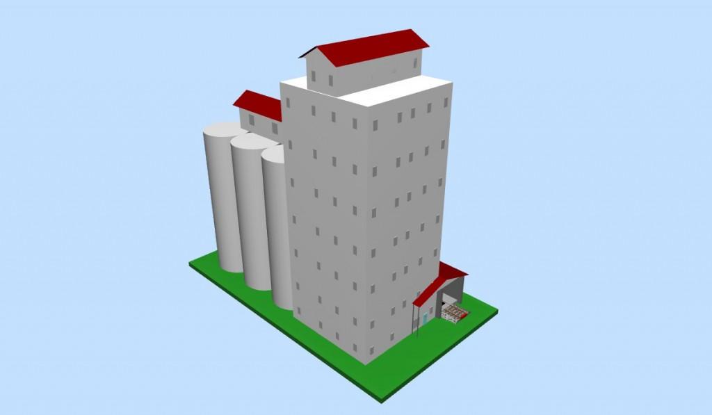 HO-scale Grain Elevator (3D image #1)