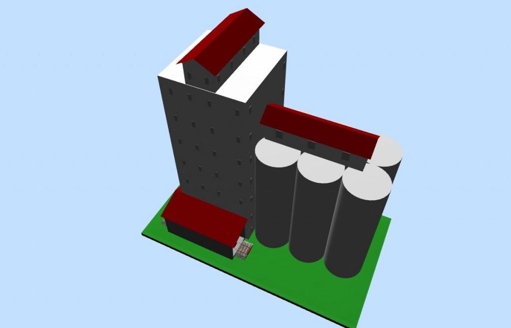 HO-scale Grain Elevator (3D image #2)