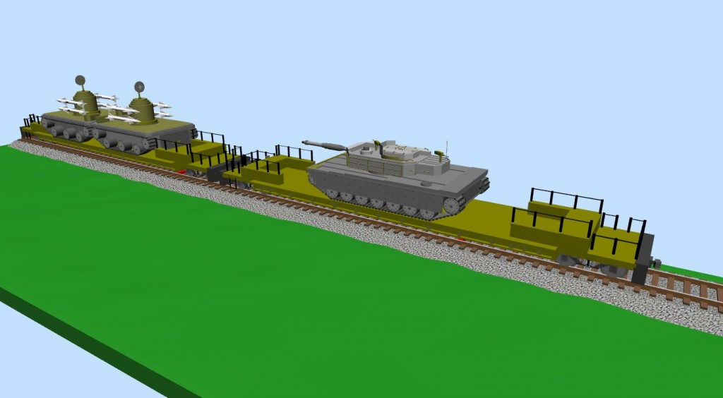 Two platforms with military vehicles (snapshot #1)