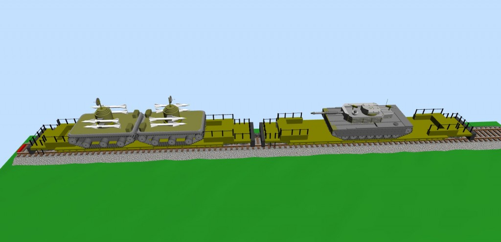 Two platforms with military vehicles (snapshot #2)