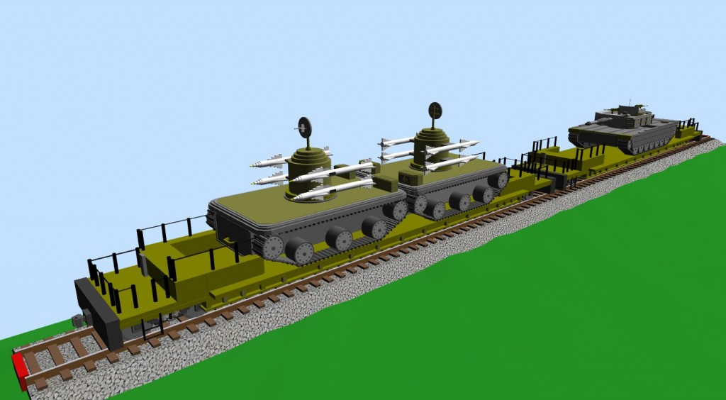 Two platforms with military vehicles (snapshot #3)