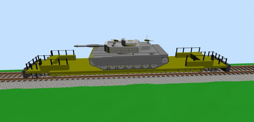 Platform car with a heavy tank