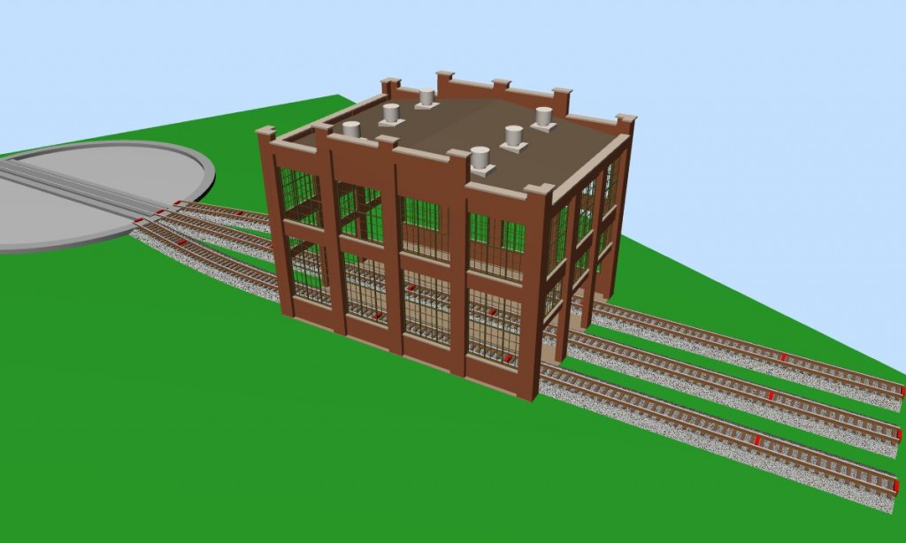 Walthers Cornerstone Backshop and Scratchbuilt Roundhouse in