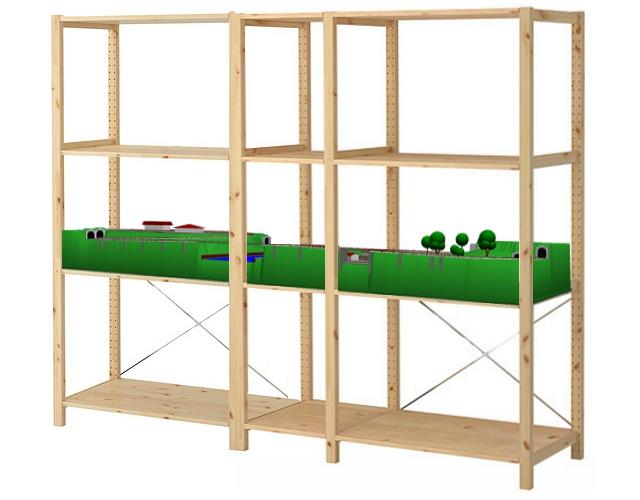 ikea ivar shelftop railway layout in n scale. Black Bedroom Furniture Sets. Home Design Ideas